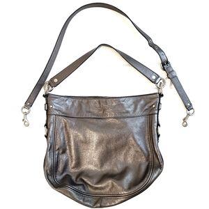 Coach Large Metallic Grey Zoe HoBo Sholder Bag